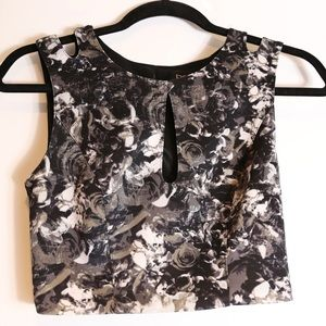 Bebe Floral Crop Tank Top with Keyhole Cutout
